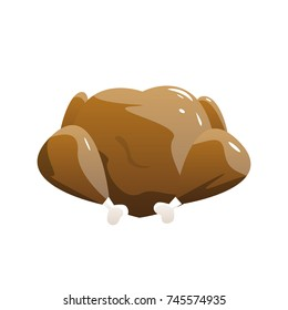 Baked Turkey Isolated on White Background. Vector Illustration.