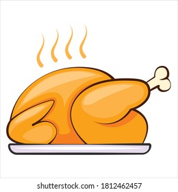 Baked turkey for Thanksgiving Day. Thanksgiving Turkey isolated vector illustration. Baked chicken. Grill chicken.  Roasted poultry on plate.