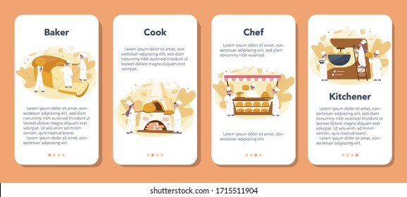 Baker and bakery mobile application banner set. Chef in the uniform baking bread. Baking pastry process. Isolated vector illustration in cartoon style
