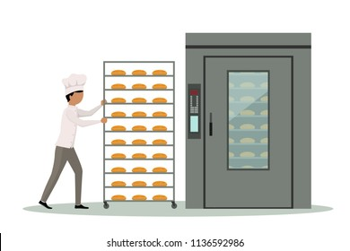 Baker carrying rack full of bread to an industrial oven.