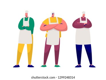 Baker Chef Professional Character Set Isolated. Kitchen Worker Master Person. Man Bakery Job Occupation. Male Restaurant Caucasian Staff Pose in Uniform Apron Flat Cartoon Vector Illustration