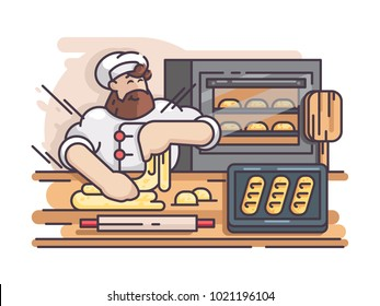 Baker kneads and cooking dough. Cook prepares pastries in kitchen. Vector illustration