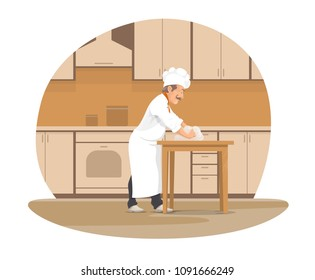 Baker making bread cartoon icon for bakery design. Pastry chef in white uniform hat kneading dough for bread, pastry and dessert at kitchen for bakery and restaurant professions themes design