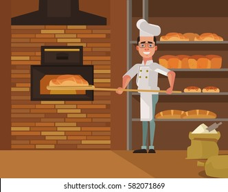 Baker man character bakes bread. Vector flat cartoon illustration