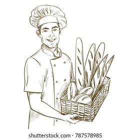 Baker man holding basket of breads. Hand drawn vector illustration on white background.