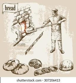 baker prepares bread in a stone oven vector illustration