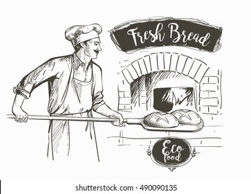 baker in uniform taking out bread from the oven vector illustration