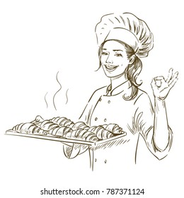 Baker woman holding plate with croissants. Hand drawn vector illustration on white background.