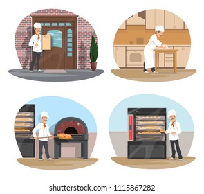 Baker at work cartoon icon set for bakery, pizzeria and pastry shop design. Baker in white hat making bread, pizza chef take out pizza from stove, pastry chef standing in front of restaurant with menu