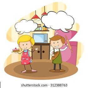 Bakers baking in the kitchen illustration