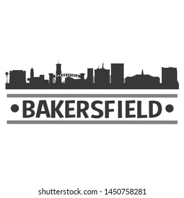 Bakersfield California. Skyline Silhouette City. Design Vector. Famous Monuments.