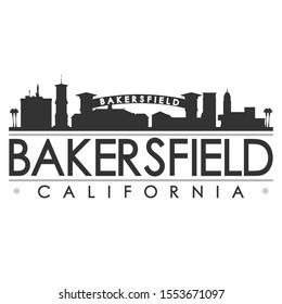Bakersfield California Skyline Silhouette City. Cityscape Design Vector. Famous Monuments Tourism.