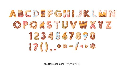 Bakery alphabet or sweet font with letters, numbers and symbols. Cute and fun English ABC with donut sprinkles and glaze or icing. Colored flat cartoon vector illustration isolated on white background