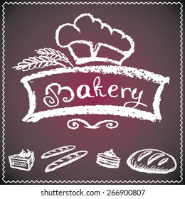 bakery background, elements,card. chalkboard style, vector