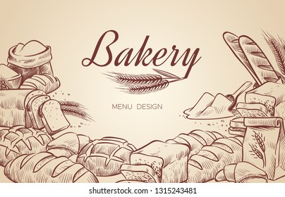 Bakery background. Hand drawn cooking bread bakery bagel breads pastry bake baking culinary vector menu design poster