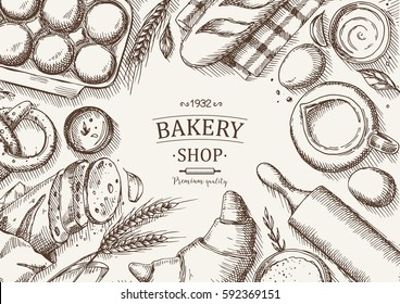 Bakery background. Linear graphic. Bread and pastry collection. Bread house. Engraved top view illustration. Vector illustration.