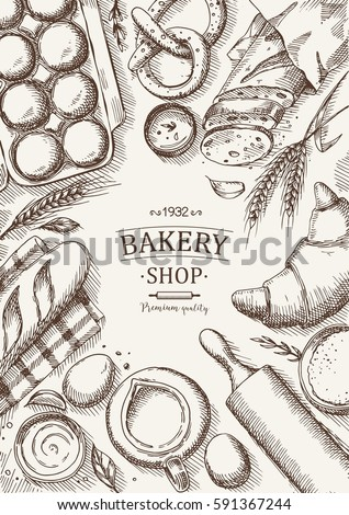 Bakery Background Linear Graphic Bread Pastry Stock Vektorgrafik