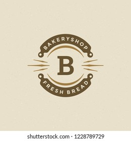 Bakery badge or label retro vector illustration. Rolling pins silhouettes for bakehouse. Typographic logo design.