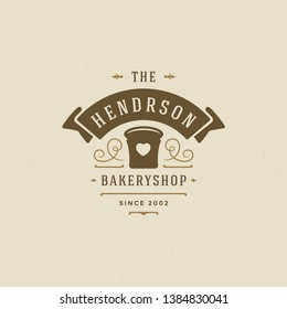Bakery badge or label retro vector illustration. Bread or loaf silhouette for bakehouse. Typographic logo design.