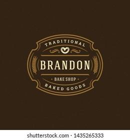Bakery badge or label retro vector illustration. Pretzel silhouette for bakehouse. Vintage typographic logo design.