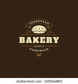 Bakery badge or label retro vector illustration. Pie silhouette for bakehouse. Vintage typographic logo design.