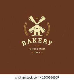 Bakery badge or label retro vector illustration mill silhouette for bakehouse. Vintage typographic logo design.