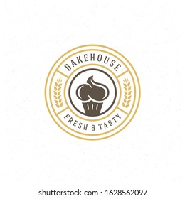 Bakery badge or label retro vector illustration cupcake and wheat silhouettes for bakehouse. Vintage typographic logo design.