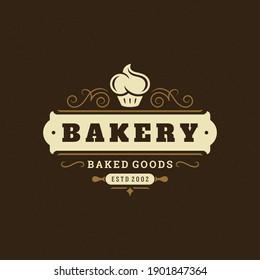Bakery badge or label retro vector illustration. Cupcake silhouette for bakehouse. Vintage typographic logo design.