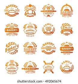 Bakery badges and logo icon thin modern style vector collection set. Sweet bread and cakes cookie bakery shop or cafe web badges