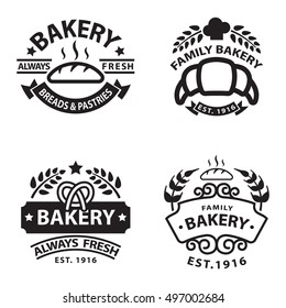 Bakery badgesand logo icon thin modern style vector collection set