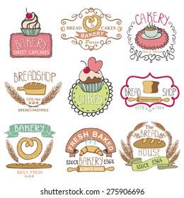 Bakery Badges,logos.Vintage Retro  hand sketched Labels,doodles design elements (bread, loaf, wheat ear, cake icons). Vector logotype,doodle cake,baked shop.