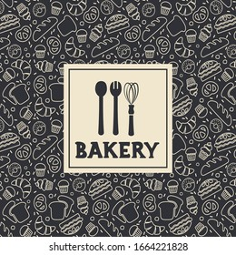 Bakery, bakehouse logo or label with baked goods background. Baking lettering. EPS 10