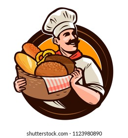 Bakery, bakehouse logo or label. Baker with a wicker basket of freshly baked bread. Vector illustration