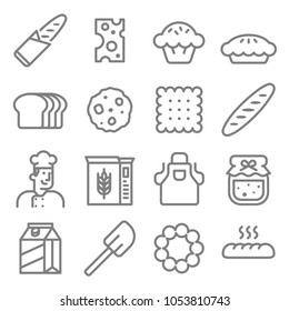 Bakery baker line icon set. Included the icons as pie, cookie, cupcake, cheese, chef, baguette and more.