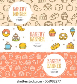 Bakery Banner Flyer Horizontal Set Thin Line Pixel Perfect Art. Material Design. Vector illustration for web site, coupon, voucher, placard. Flat design