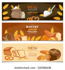 Bakery banner fresh bread, shop and bakery products vector