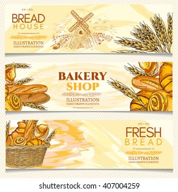Bakery banner, bakery shop, bakery basket, fresh bread, hand drawn vector illustration