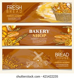 Bakery banner, bakery shop, bakery basket, fresh bread rolls and loaves