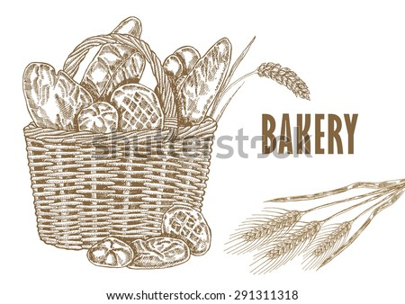 Basket Template   Bakery Basket Template Hand Drawn Bread Stock Vector Royalty Free