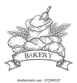 Bakery bread bake, wheat, ribbon, flour organic vector hand drawn template packaging food, label, banner, poster, branding. Stylish design with sketch illustration of bread. Local organic food shop
