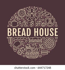 Bakery, bread house poster template. Vector food line icons, illustration of sweets, pretzel croissant, muffin, pastry, cupcake pie, mill. Confectionery products dark banner with place for text.