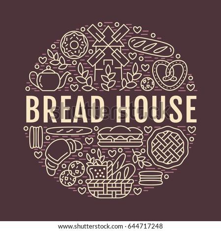 Bakery Bread House Poster Template Vector Stock Vektorgrafik