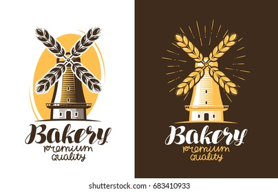 Bakery, bread logo or label. Farm, agriculture, windmill, mill icon. Vintage vector illustration