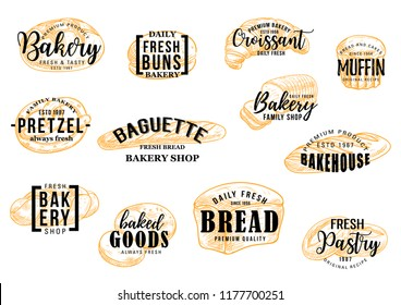 Bakery bread and pastry cakes lettering for baker shop. Vector sketch wheat buns, croissant and muffin dessert or pretzel and baguette for premium quality bakeshop or patisserie