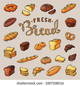 Bakery breadstuff vector baking bread loaf or baguette baked by baker in bakehouse set illustration isolated on background