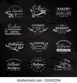 Bakery And Cafe Labels Set - Isolated On Black Background - Vector Illustration, Graphic Design Editable For Your Design. Bakery Logo