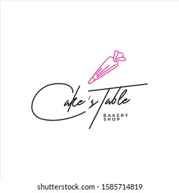 Bakery Cake Logo Pastry Shop Ideas Design Vector with Script Font Lettering Icon Decoration Template or Sticker