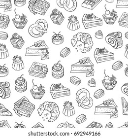 Bakery, cakes,dessert, pastries linear pattern. Hand drawn vector illustration of goodies, sweets, cakes and pastries. Design elements for confectionery and bakery shops.