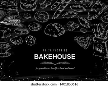 Bakery chalk background. Blackboard bread and cakes banner, hand drawn cookies and pies design template. Vector illustrations bakery and dessert on black background