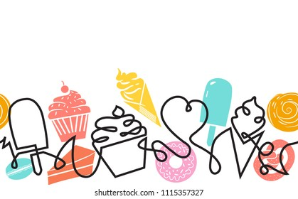Bakery and Confectionery Shop Background . Pattern with Sweets. Continuous drawing style. Abstract Banner with ice cream, cupcake, donut, croissant, macaroon and slice of pie. Vector illustration.